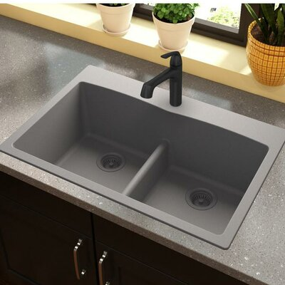 "Bathroom Sinks Double Basin elkay quartz classic 33"" x 22"" double basin drop-in kitchen sink"