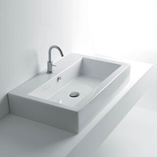 WS Bath Collections Quad Ceramic Ceramic Rectangular Vessel Bathroom Sink with Overflow