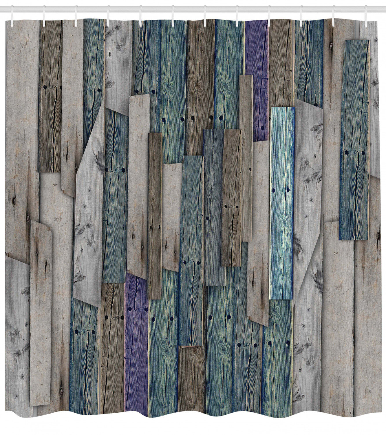 White Old Wood Planks Shower Curtain Liner Bathroom Mat Polyester Fabric Hooks