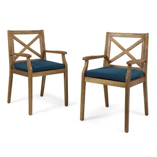 Garica Patio Dining Chair with Cushion (Set of 2)