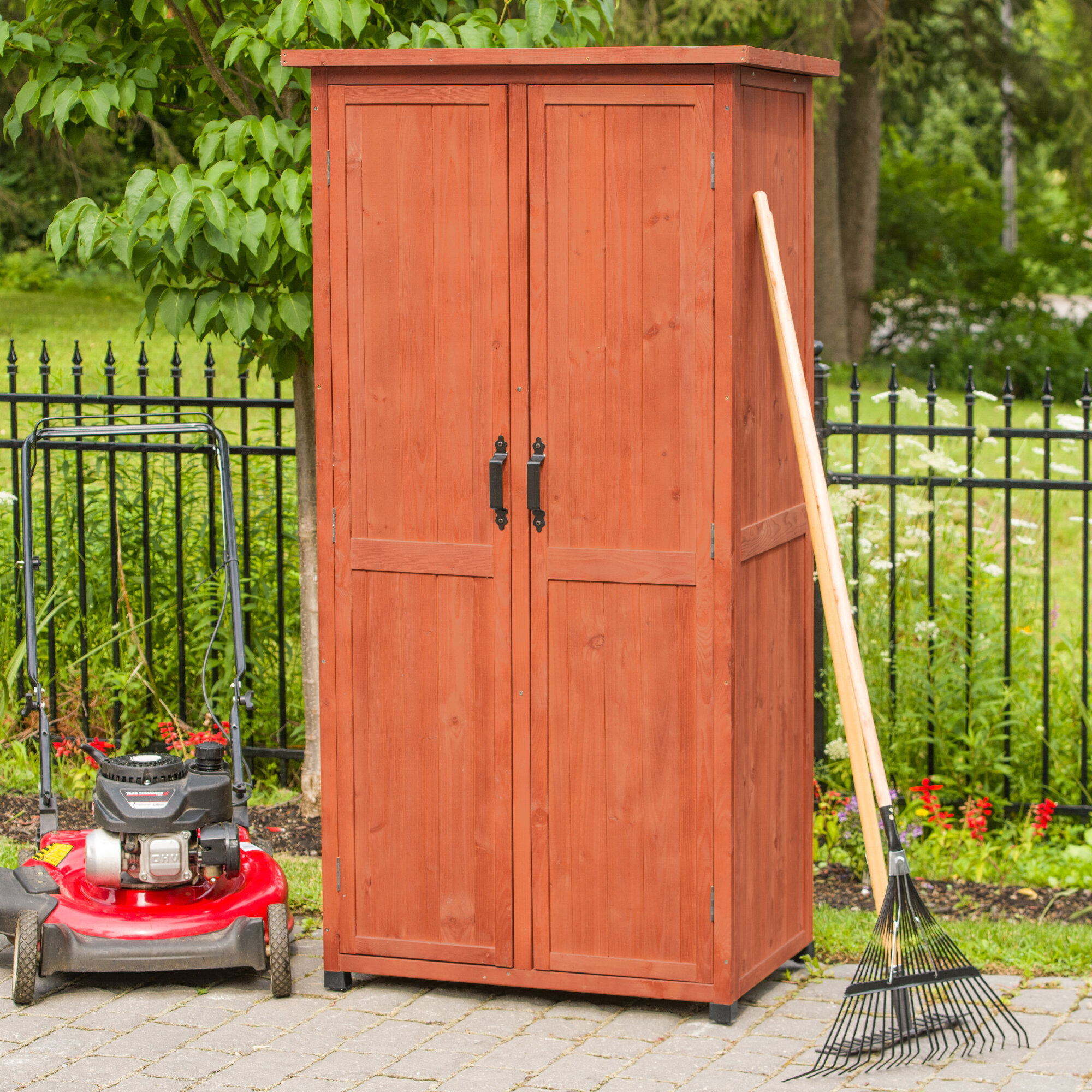 D Solid Wood Vertical Tool Shed Reviews Wayfair