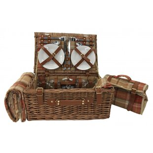 Autumn Red Tartan Picnic Basket By Union Rustic