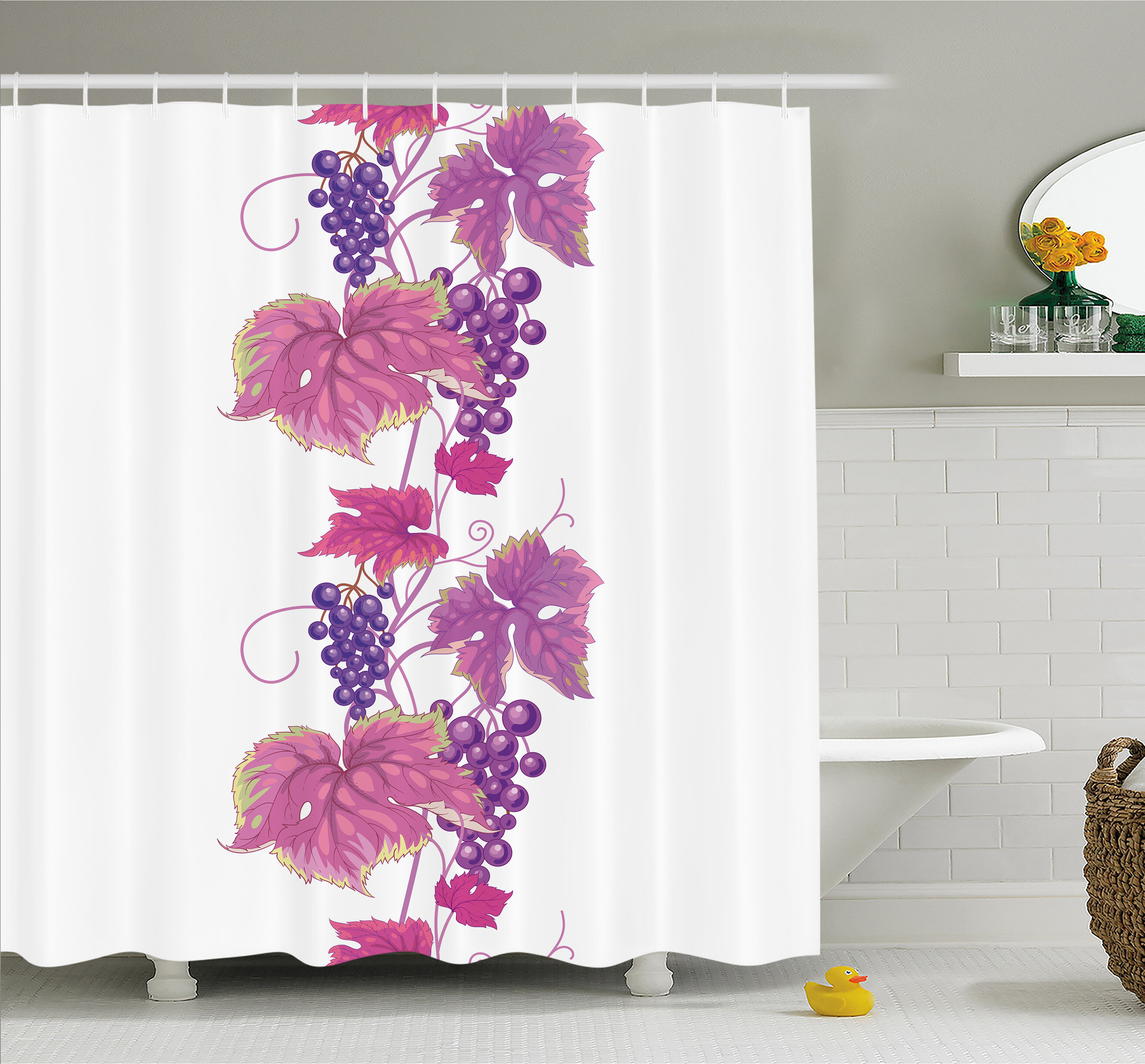 Ambesonne Grapes Vibrant Twiggy Branch With Berries Leaves Plants Trees Wild Habitat Shower Curtain Set