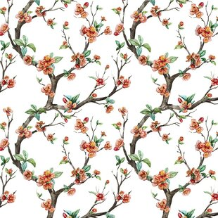 Cheery Cherry Blossom Removable 5 X 20 Floral Wallpaper