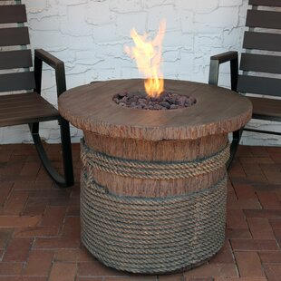 Loon Peak Velasco Rope and Barrel Polyresin Propane Fire Pit Table