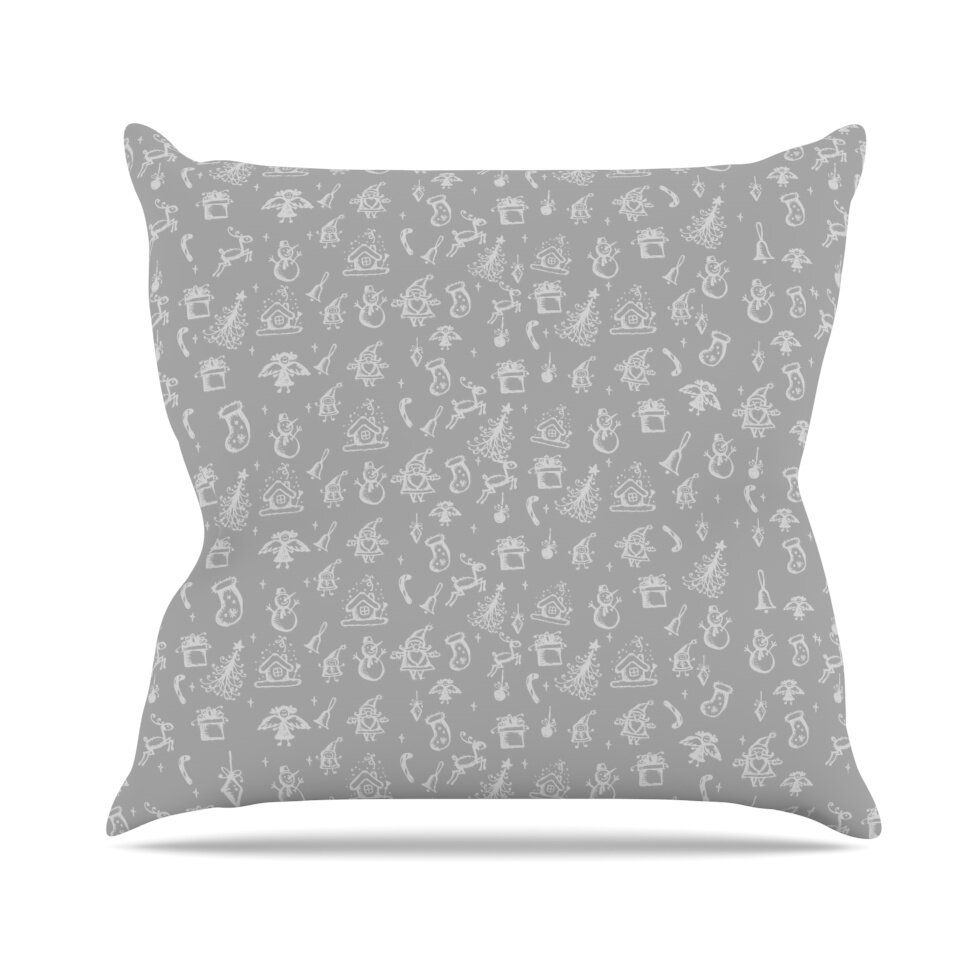 20 by 20 Kess InHouse Julia Grifol Flowers in White /& Black Throw Pillow