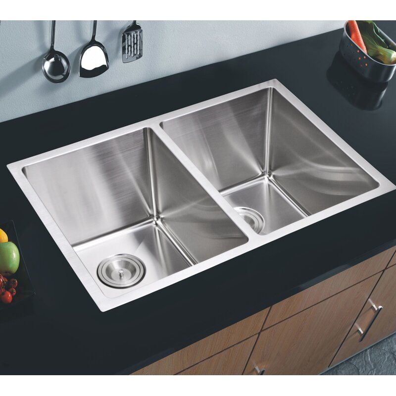 Dcor Design 50 50 Stainless Steel 31 L X 18 W Double Undermount Kitchen Sink With Coved Corner Drain And Strainer Wayfair Ca