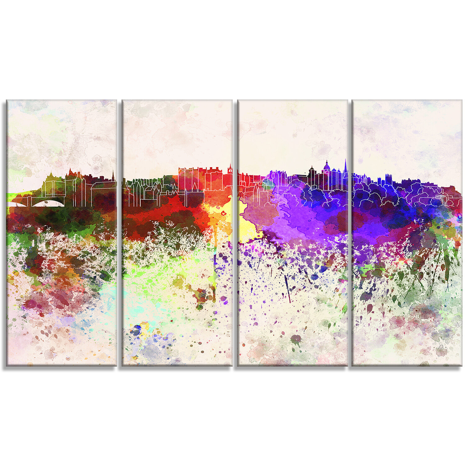 Designart Edinburgh Skyline Cityscape 4 Piece Painting Print On Wrapped Canvas Set Wayfair