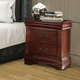 Kyles Wooden 2 Drawer Nightstand by Charlton Home®