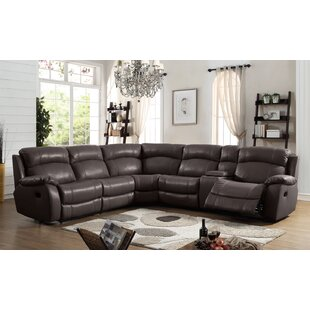 Bargain Heffron Leather Reclining Sectional by Orren Ellis Reviews (2019) & Buyer's Guide