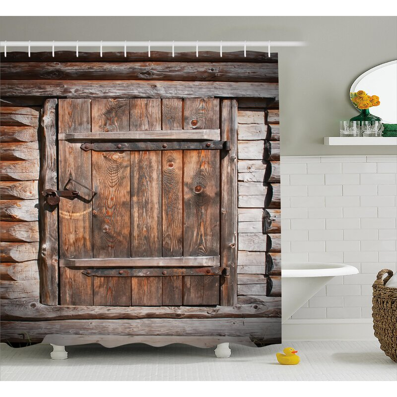 Vintage Rustic Wooden Door Shower Curtain