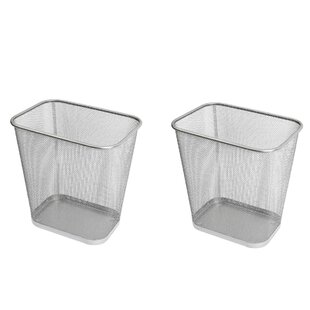 YBM Home Steel Mesh Rectangular Open Top Waste Basket (Set of 2)