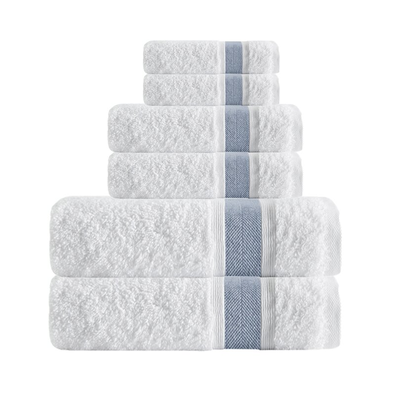 Unique Smooth 6 Piece Turkish Cotton Bath Towel Set