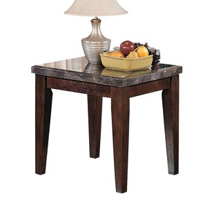 Mathison Wood and Marble End Table
