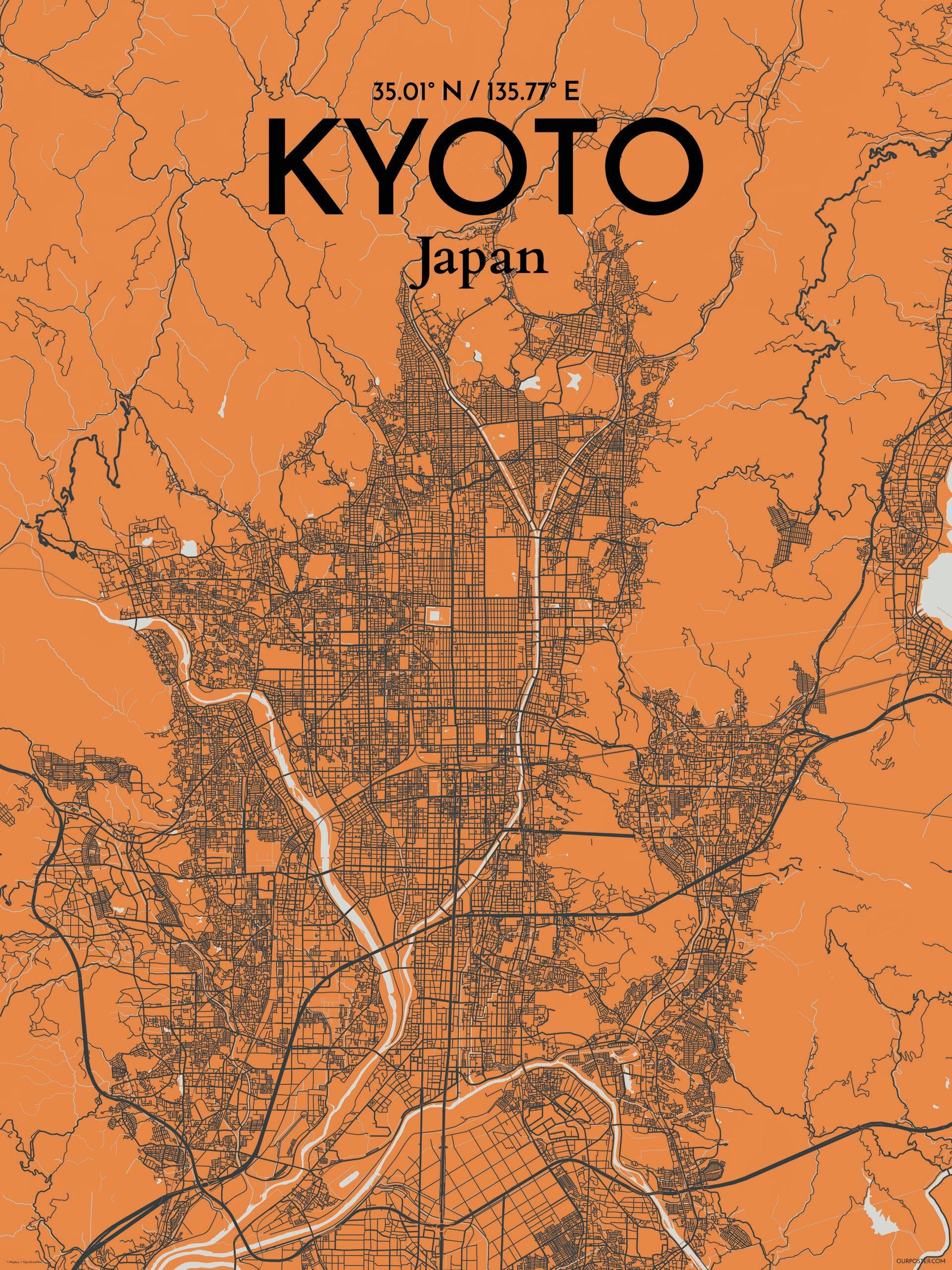 ourpostercom kyoto city map graphic art print poster in greyorange wayfairca