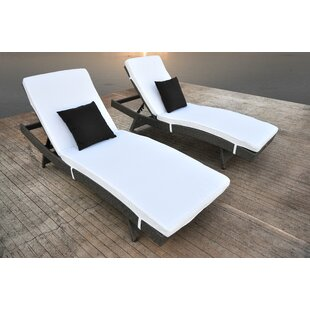 Solis Patio Zori Chaise Lounge with Cushion (Set of 2)