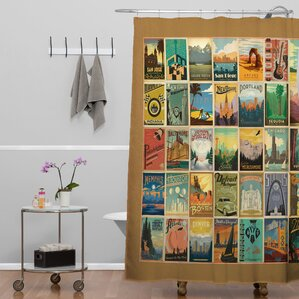 Anderson Design Group City Pattern Border Extra Long Shower Curtain