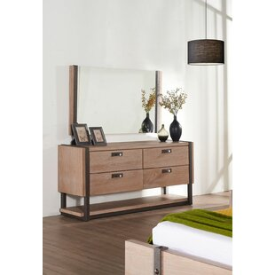 Dominey 4 Drawer Double Dresser with Mirror