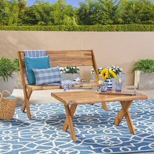 Eltingville Outdoor Acacia Wood Loveseat and Coffee Table Set