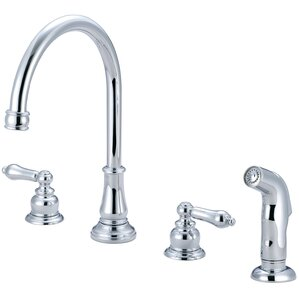 Pioneer Brentwood Double Handle Widespread Kitchen Faucet with Side Spray