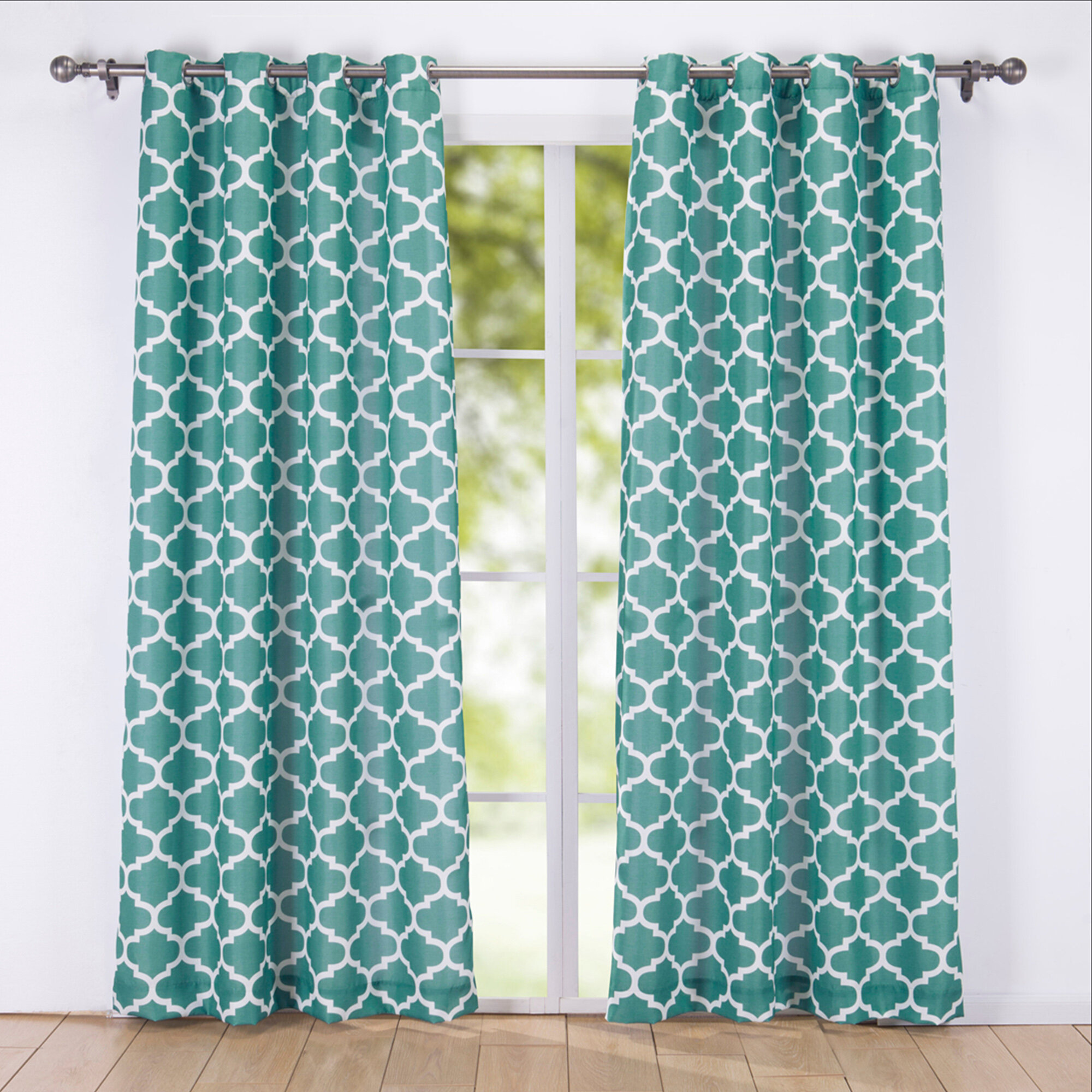 Ebern Designs Dulac Decorative Window Geometric Semi Sheer Grommet Curtain Panel Wayfair