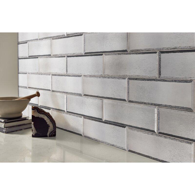 Msi Glisten Beveled 4 X 12 Glass Mosaic Tile In Gray Wayfair