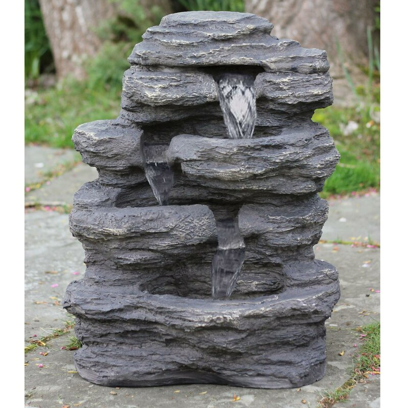 Resin LED Lighted Multi Tiered Rock Look Patio Garden Water Fountain With  Light