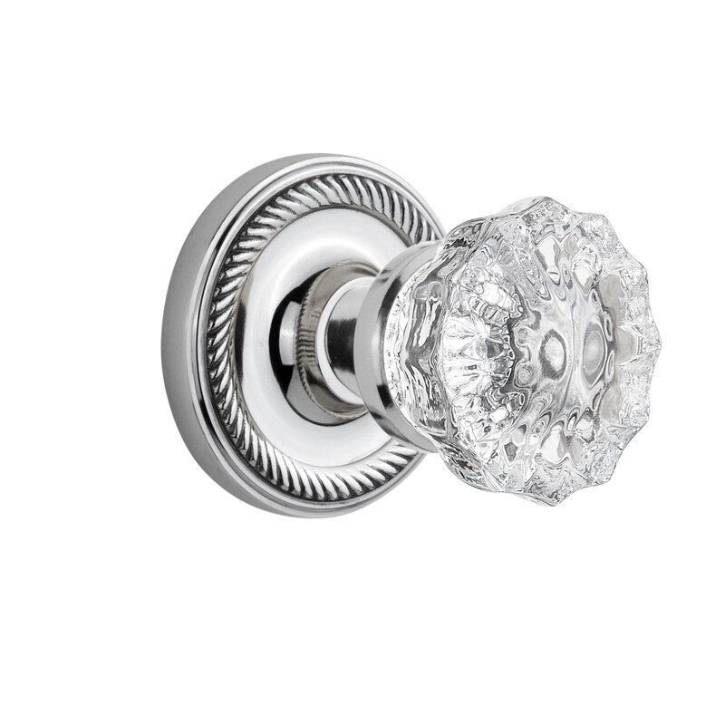 Crystal Glass Double Dummy Door Knob With Rope Rosette