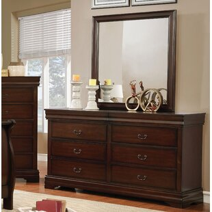 Charlton Home Fredette 6 Drawer Dresser with Mirror