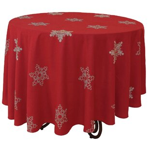 Snowy Noel Embroidered Snowflake Christmas Round Tablecloth
