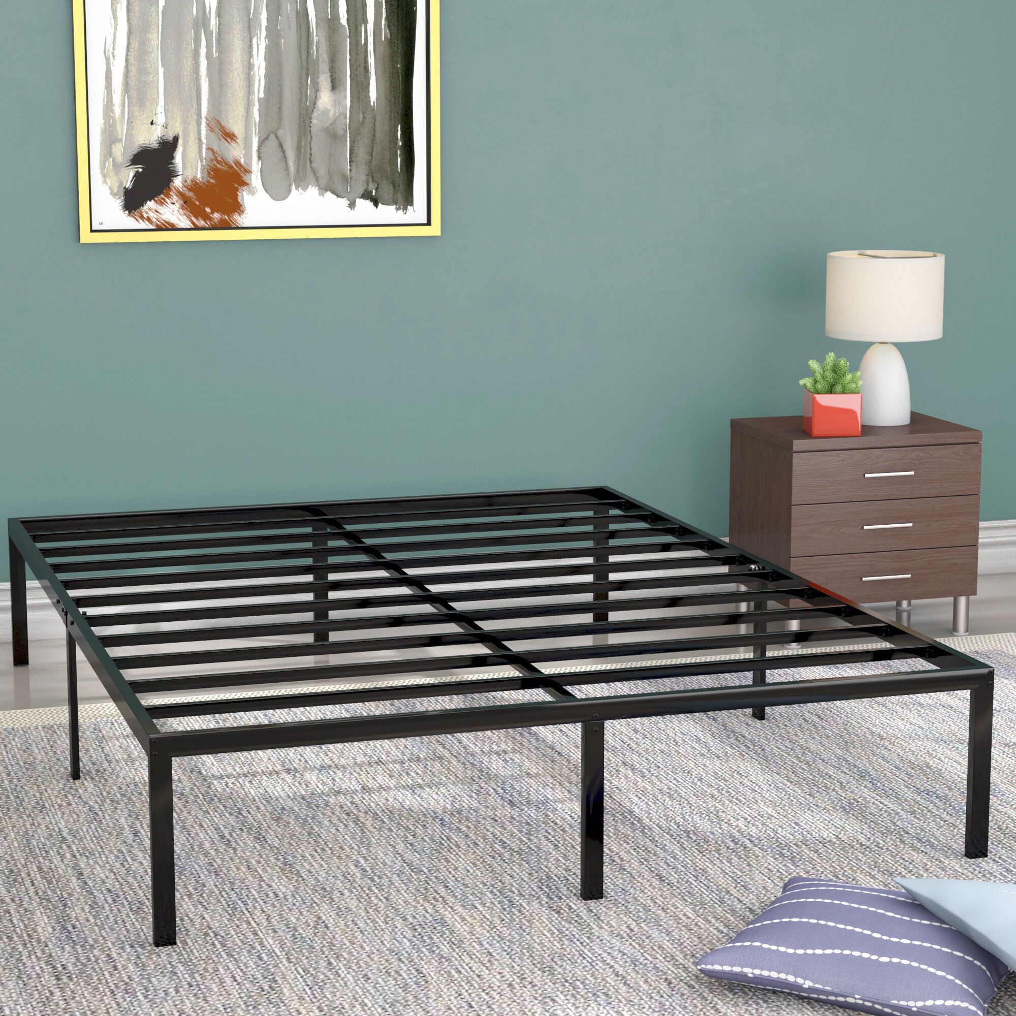 Full KINGSO 14 Inch Metal Platform Bed Frame//Heavy Duty Steel Slat//Anti-Slip Support//Easy Assembly//Mattress Foundation//Under Bed Storage//Noise Free//No Box Spring Needed