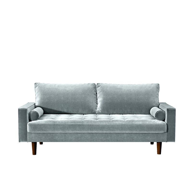 Mercer41 Womble 69 68 Velvet Square Arm Sofa Reviews Wayfair