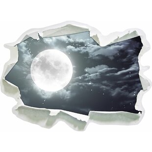 Full Moon With Stars And Clouds Wall Sticker By East Urban Home