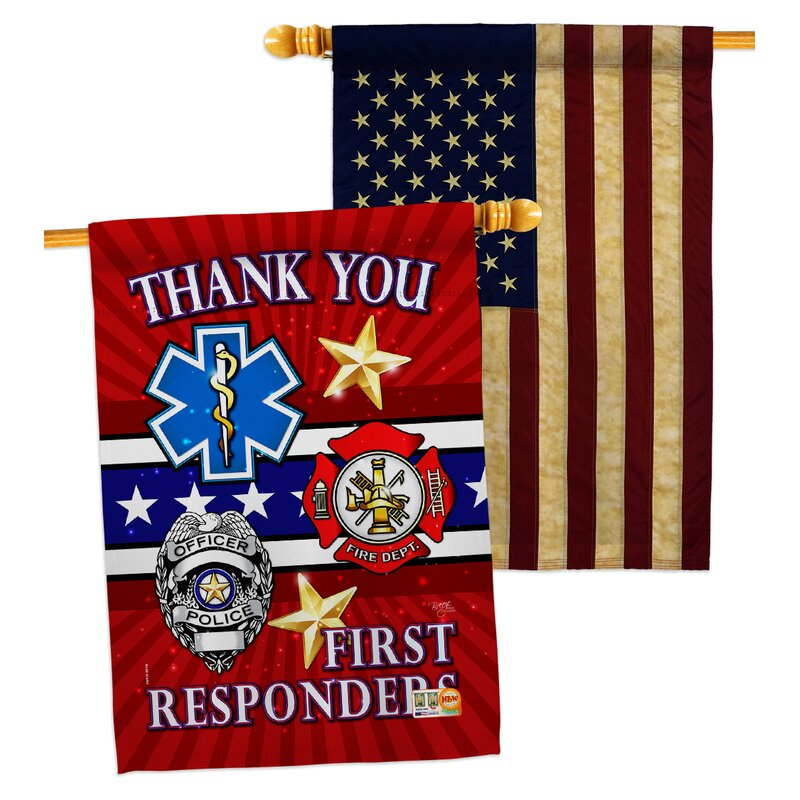 Breeze Decor 2 Piece First Responders Impressions Decorative 2 Sided Polyester 40 X 28 In House Flag Set Wayfair