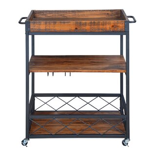Caster Rustic Industrial Bar Cart