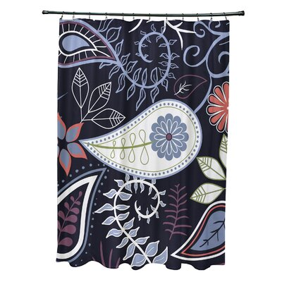 Alcott Hill Orchard Lane Polyester Paisley Floral Single Shower Curtain  Color: Navy Blue