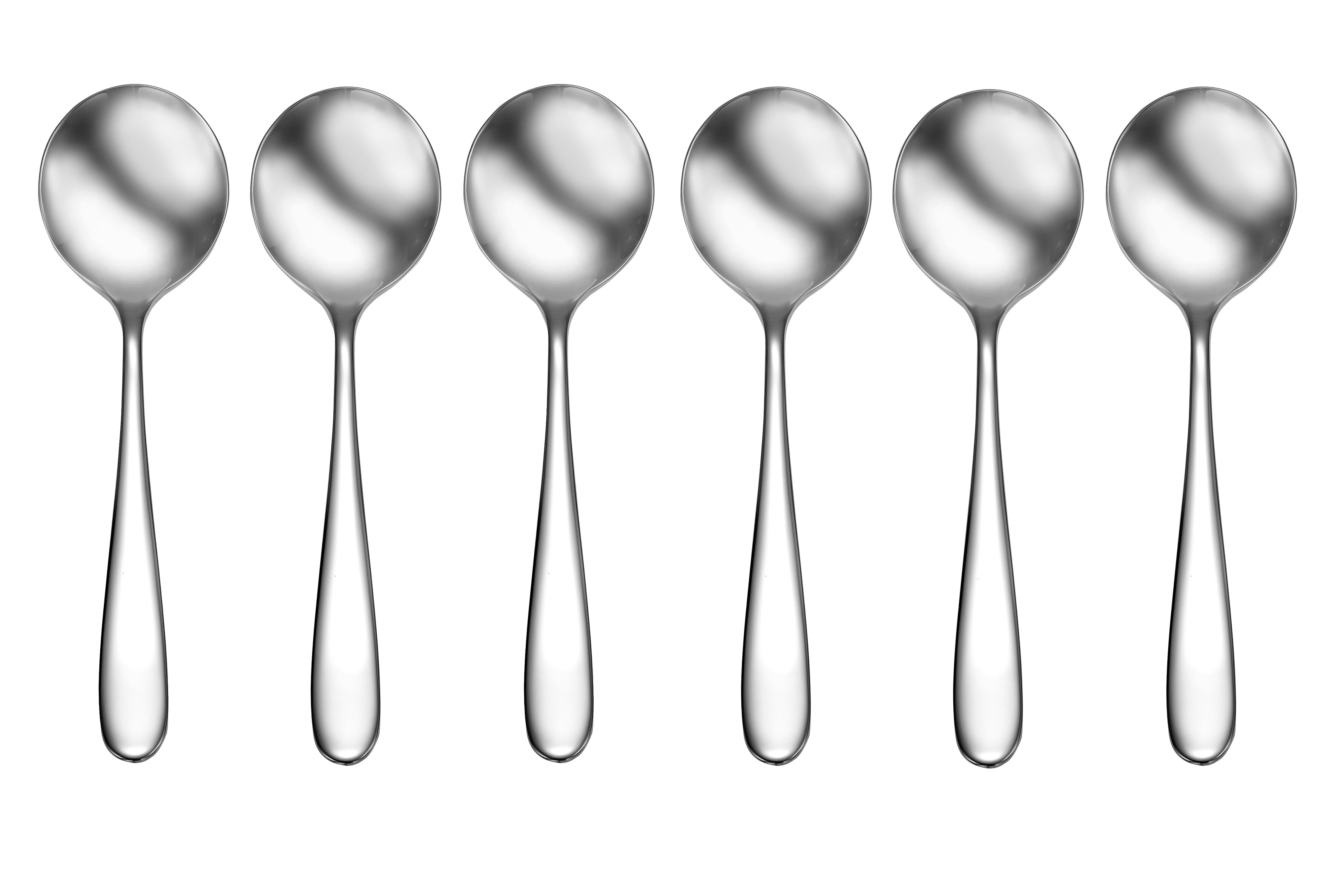 Round Soup Spoons NEW SET OF TWELVE Oneida Stainless ACCENT Bouillon