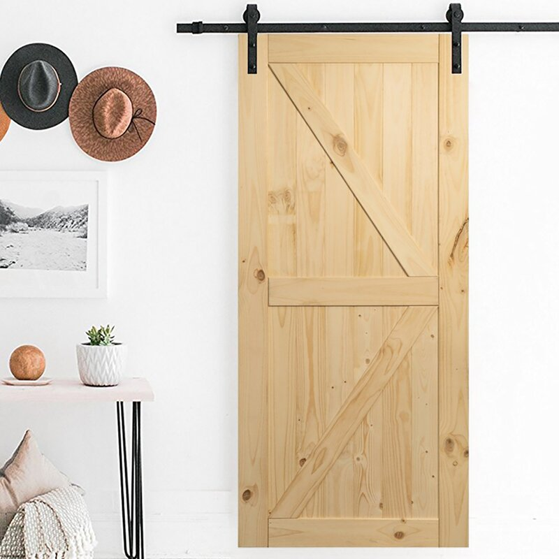 Belleze Paneled Wood Unfinished Barn Door without Installation ... on