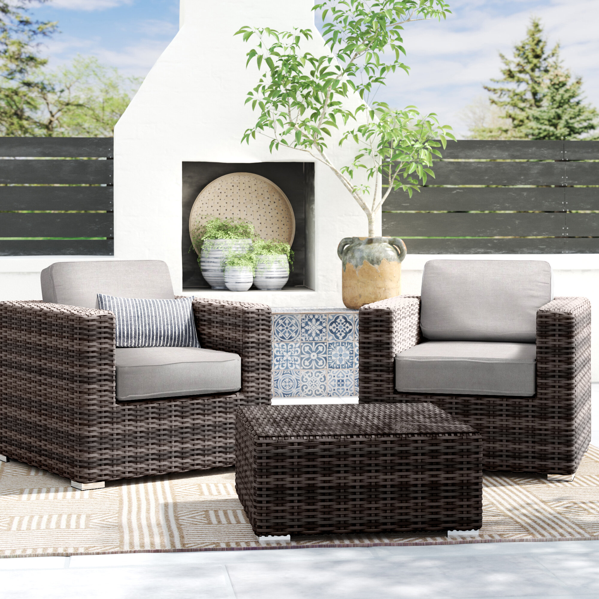 Ravenden Resin Wicker 2 Person Seating Group Reviews Joss Main