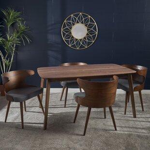 Corrigan Studio Chaya Mid-Century Walnut Wood 5 Piece Dining Set