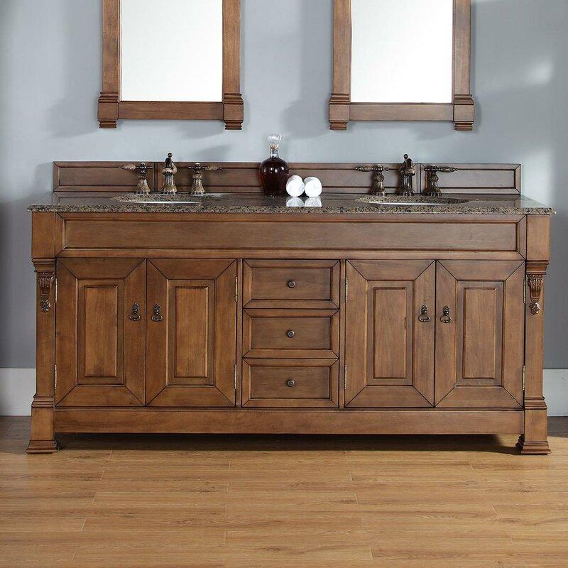 "Bedrock 72"" Double Country Oak Bathroom Vanity Set with Drawers"