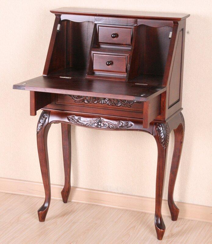 International Caravan Windsor Hand Carved Wood Secretary Desk U0026 Reviews |  Wayfair