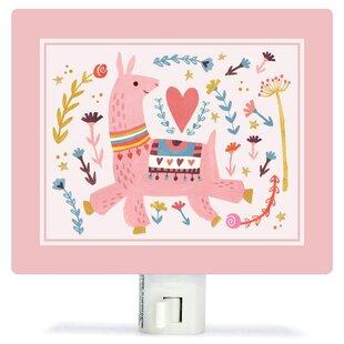 Oopsy Daisy Pink Llama by Irene Chan Canvas Night Light