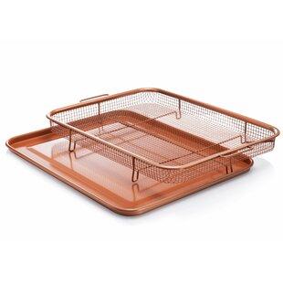 2 Piece Non-stick XXL Copper Crisper Tray and Basket Set