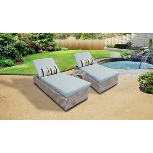 Meeks Outdoor Chaise Lounge Set with Cushions and Table