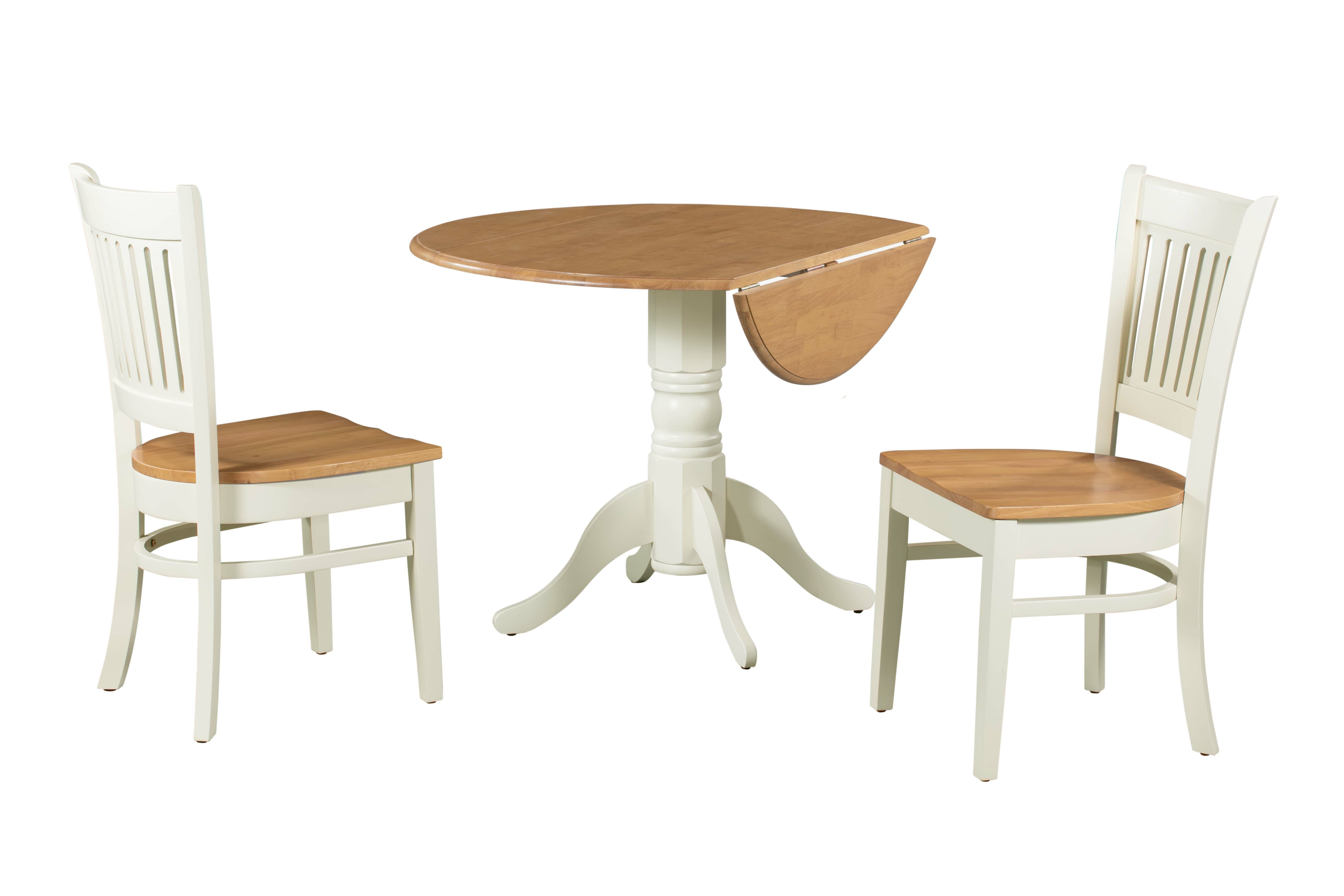 Picture of: August Grove Agnese 3 Piece Drop Leaf Solid Wood Dining Set Reviews