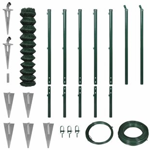 Erikson 15m X 1.97m Chain Link With Spike Anchors Fence Set By Sol 72 Outdoor