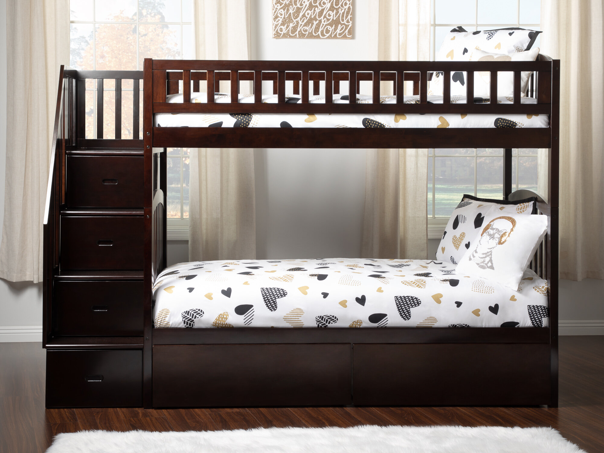 Harriet Bee Simmons Staircase Twin Over Twin Bunk Bed With Drawers