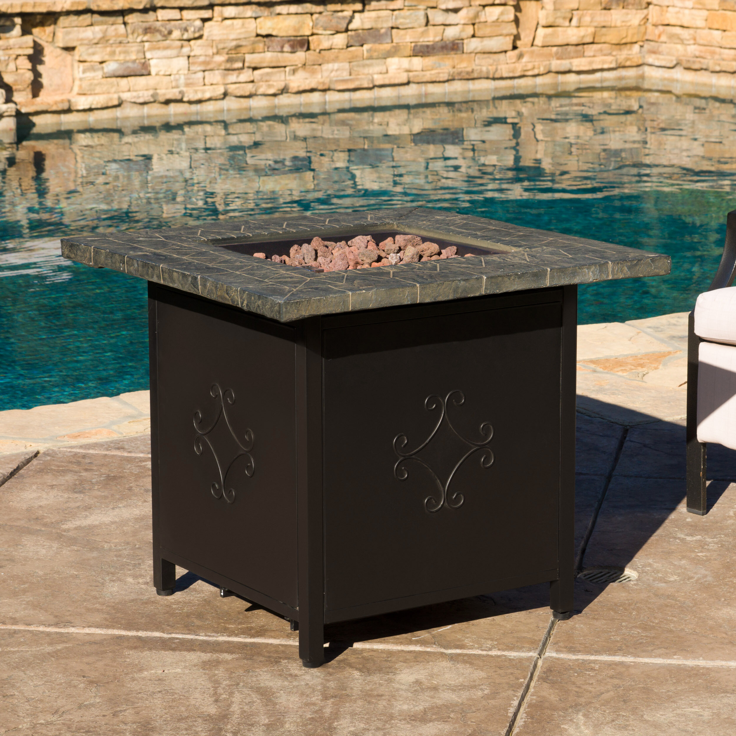 home loft concepts rios cast iron propane fire pit table reviews