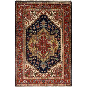 Lenita Hand-Knotted Rectangle Wool Navy Blue/Red Area Rug